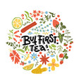 but first tea hand drawn floral pattern linear vector image vector image