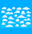 cartoon sky clouds fluffy white clouds in blue vector image