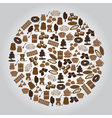 chocolate brown icons set in circle eps10 vector image vector image