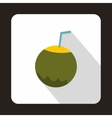 Coconut with straw icon in flat style vector image