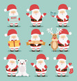 collection of cute santa claus characters vector image