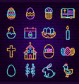 easter neon icons vector image vector image