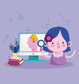 education online student girl with magnifier vector image