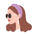 fashion portrait a girl fashionable girl with vector image vector image