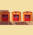 fire station garage doors with signaling gates box vector image vector image