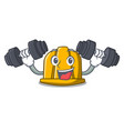 fitness construction helmet character cartoon vector image