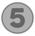 five silver coin vector image vector image
