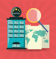 global map with magnifying glass and hotel vector image vector image
