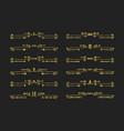 golden assorted swirl art deco line dividers set vector image