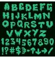 Green font smudges alphabet splashing vector image