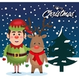 greetind merry christmas with elf reindeer vector image