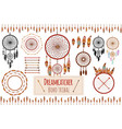 hand drawn tribal collection with arrows feathers vector image