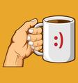 Hand Holding Coffee Mug vector image