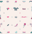 lovely seamless pattern with tools for knitting vector image