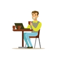 Man Drinking His Third Cup Of Coffee In The Coffee vector image vector image