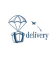 package with parachute fast delivery service vector image