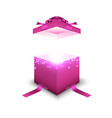 pink gift box on white background vector image vector image