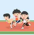 runner attractive running in racetrack set vector image vector image