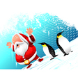 santa with penguins vector image vector image