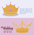 set monarchical crowns of queen and king vector image