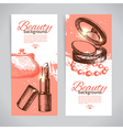 Set of beauty sketch banners vector image