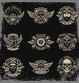 set of biker emblems racer skull with crossed vector image