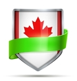 Shield with flag Canada and ribbon vector image vector image