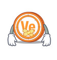 silent veritaseum coin mascot cartoon vector image vector image