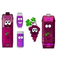 Smiling violet grape juice cartoon characters vector image vector image