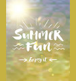 summer fun lettering poster vector image vector image
