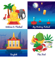 Thailand Culture 4 Flat Icons Square vector image