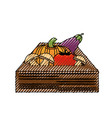 vegetables in wooden box vector image vector image