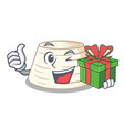 with gift italian ricotta cheese on mascot cartoon vector image vector image