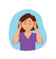 young woman having headache cartoon vector image vector image