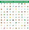 100 preschool education icons set cartoon style vector image
