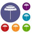 beach umbrella icons set vector image