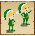 Cute dwarf in green with sad and happy emotions vector image