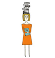 Pretty hand drawn girl with books vector image
