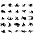 Octopus silhouettes set vector image