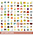 100 farm icons set flat style vector image vector image