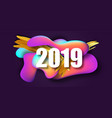 2019 new year on the background of a liquid color vector image