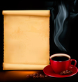 background with cup coffee and old paper vector image vector image