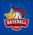 baseball league logo design with leather ball vector image vector image