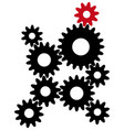 black gears with red leader vector image