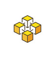 blockchain crypto yellow icon vector image vector image