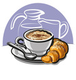 cappuccino with croissant vector image vector image