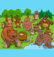 cartoon funny wild animals comic characters group vector image vector image
