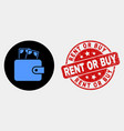 cash purse icon and scratched rent or buy vector image vector image