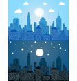 Cityscape at day and night time vector image