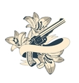 Classic revolvers and lilly flowers emblem vector image vector image
